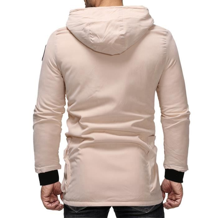 Vêtements Rembourré Hiver Nouveau Beige Automne Coton Flanelle Chapeau Hommes Manteau Capuche Long À n6vnwfgq