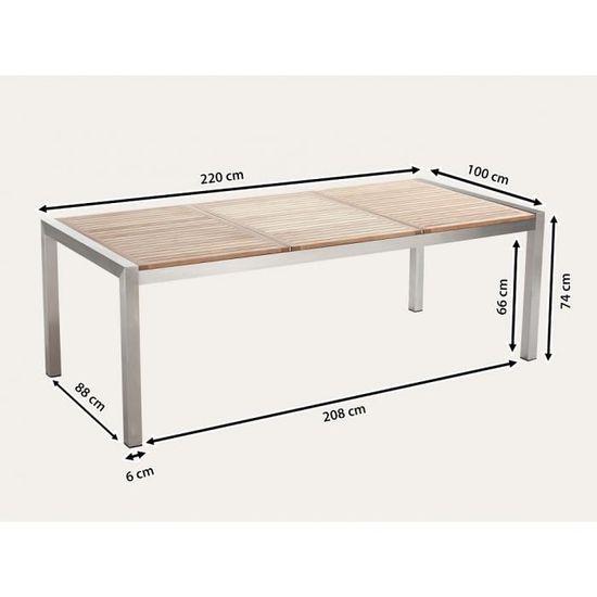 Table de jardin acier inox - plateau bois triple 220 cm avec 8 ...