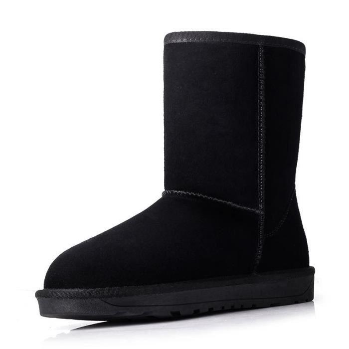 suède bottes de neige pour les femmes chaussures d'hiver en peau de mouton femmes fourrées en cuir de bottes d'hiver de haut de NqXoemG