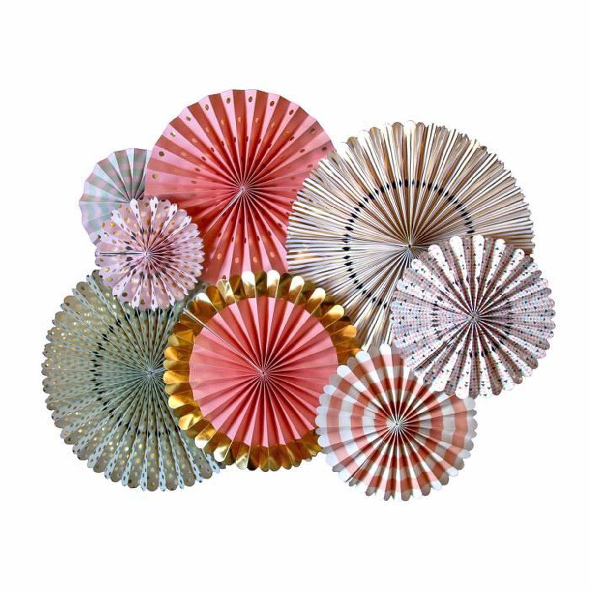 8 pcs fleur de ventilateur d'origami papier guirlande kit golden