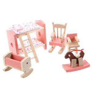 MAISON POUPÉE Ensemble de meubles en bois pour la maison de poup