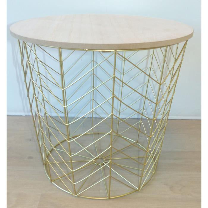 Panière petit modèle en bois clair MDF - Ø34 cm - Fil métal doré