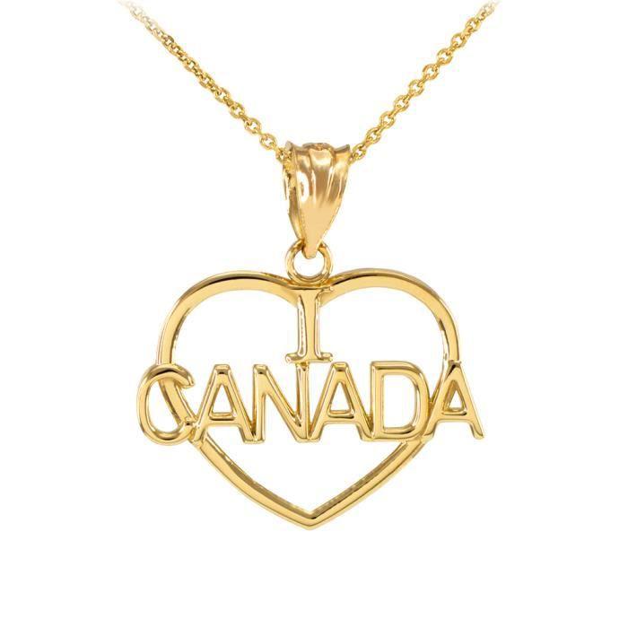 Collier Femme Pendentif 10 Ct Or Jaune Ouvert Cœur Forme I Love Canada (Livré avec une 45cm Chaîne)