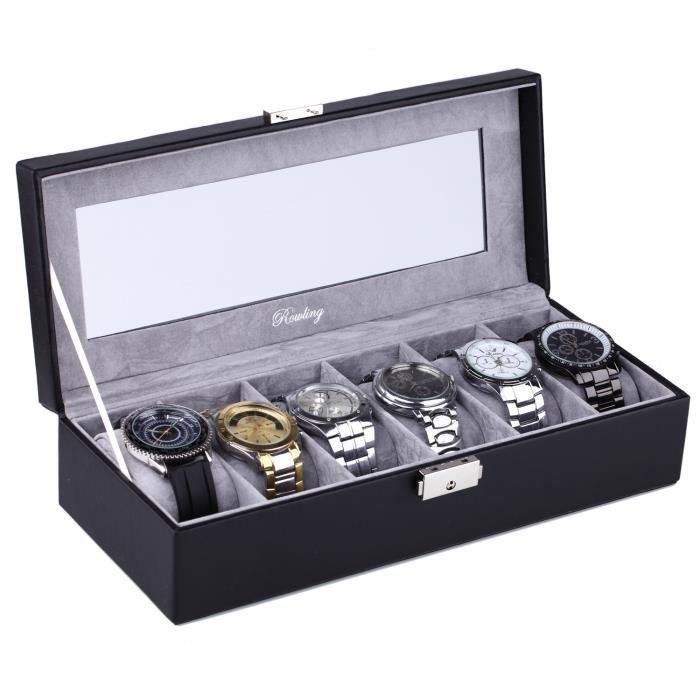 mode de premier ordre Achat prix d'usine Boite 6 montres en cuir