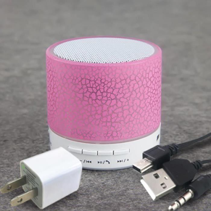 Led Portable Stéréo Mini Boîte De Haut-parleur Bluetooth Sans Fils Supportant Sd Card Rose