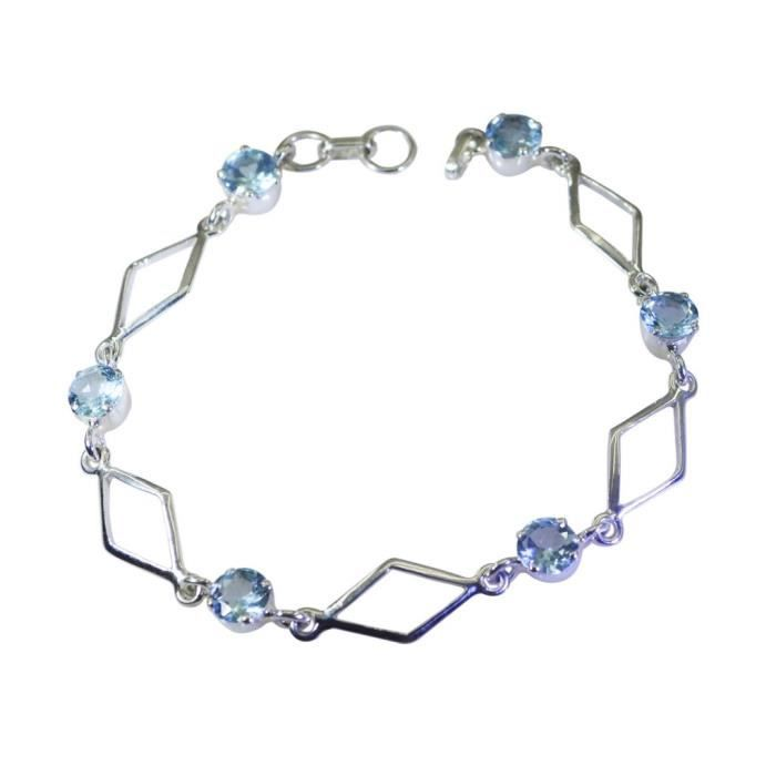 Topaze bleue Bracelet - Bracelet Argent - Bracelet Bleu - Bleu Argent Bracelet