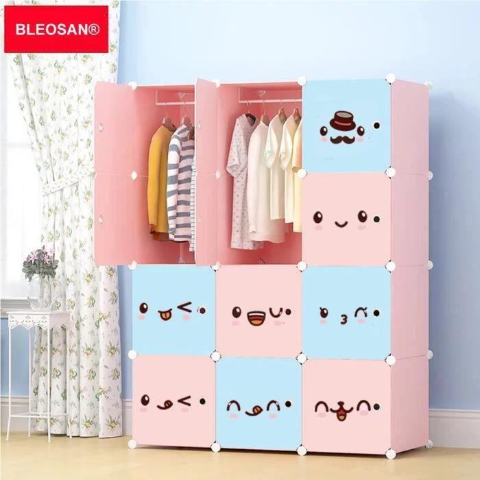 Beau Armoire De Rangement Plastique Enfants 12 Cubes Rose, Armoire Chambre Meuble  De Rangement Pour Vêtements Chaussures Jouets Emoij