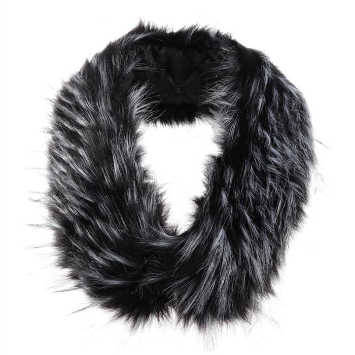 82cm Hiver chaud Faux élégant Fox collier écharpe de fourrure à col châle  Foulards Wrap femmes (noir et blanc) 7f6fb1ca79b