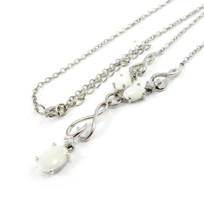 Collier Argent Déesse Opale Blanc