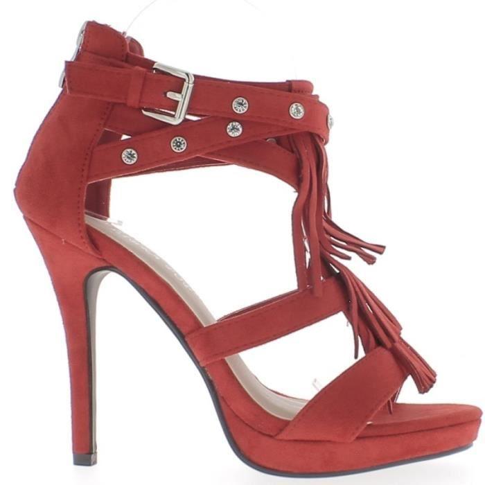 Sandales rouges à franges talon fin de 11cm et plateforme aspect daim
