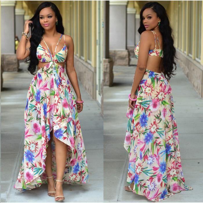 1ddb97062ae Sexy robe longue dos nu La robe bustier de Bohême Multicolore ...