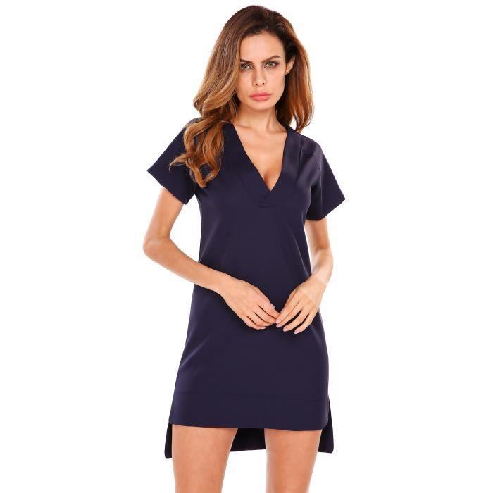 3d11248cea5 Robe décontractée à manches courtes Bleu Bleu - Achat   Vente robe ...