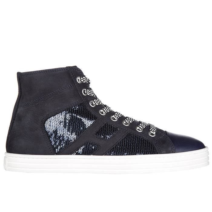 Chaussures baskets sneakers hautes femme en daim r141 laterale pailettes Hogan Rebel aQrl8uSqPy