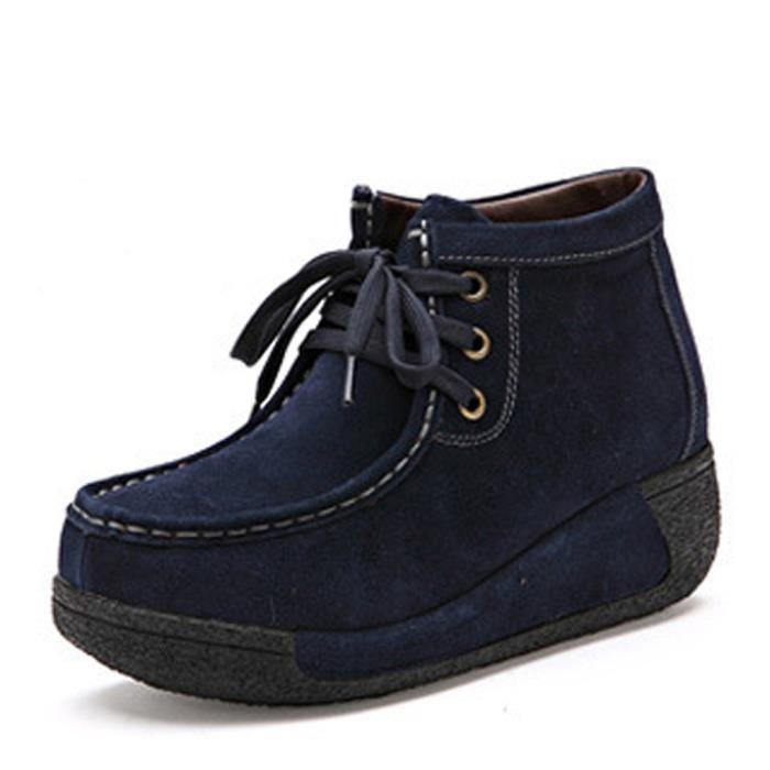 Bottines Femme Hiver Nouvelle arrivee Plus De CachemireBottine Confortable Garde Au Chaud Chaussure Bleu Couleur unie 41