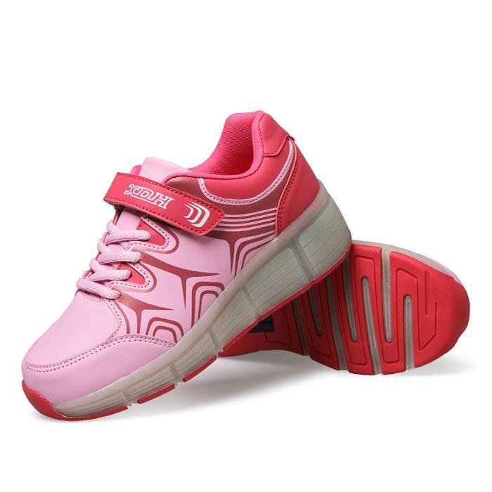 Enfants Roller Heelys Sneaker avec une roue Mode LED lumineux clignotant patins enfants garçon fille chaussures - Rose