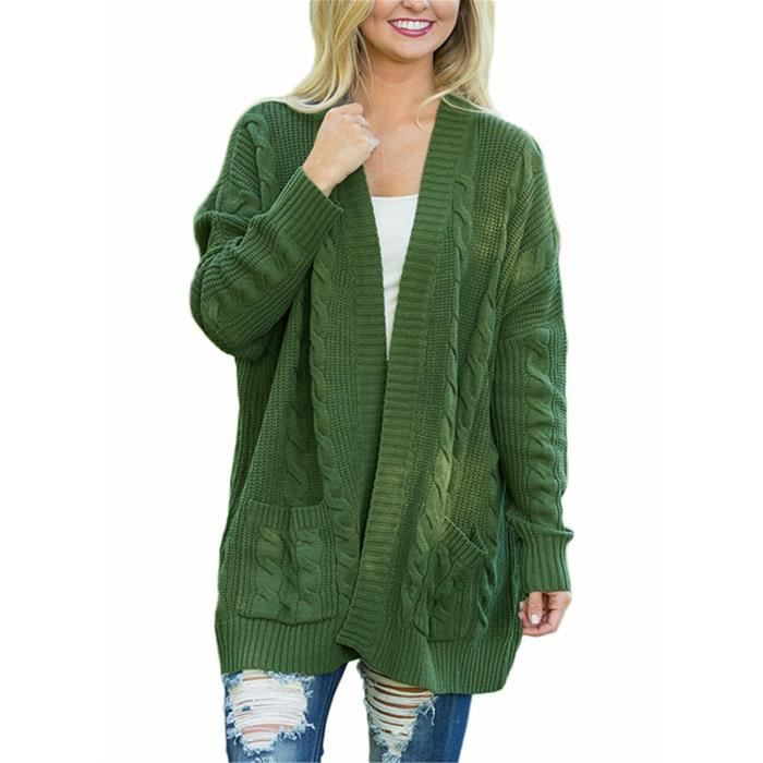 Womens Casual Open Front Knit Cardigan Long Sleeve Sweater Coat With