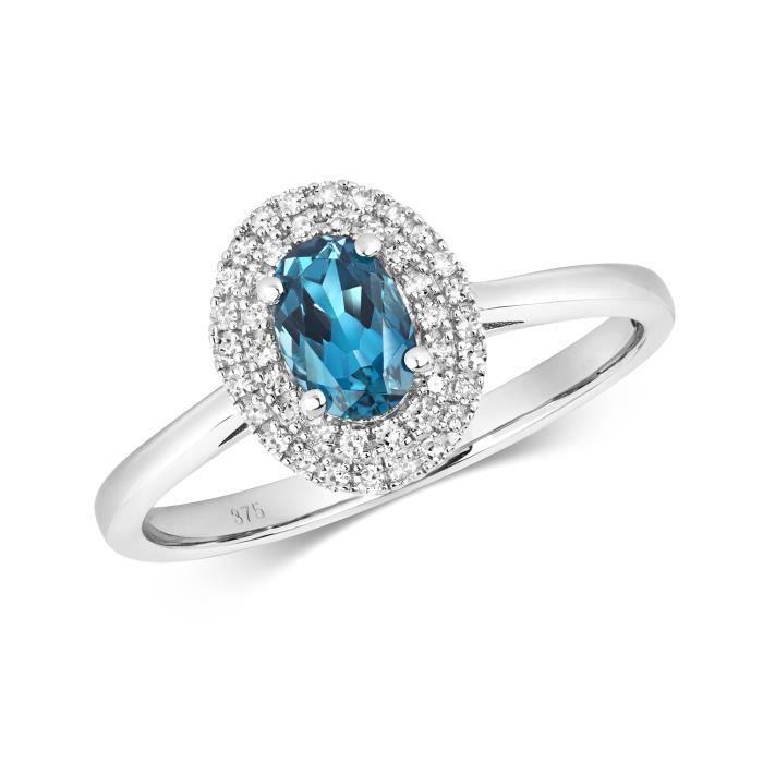 Bague Femme Pavage Or Blanc 375-1000 et Diamant Brillant 0.14 Carat avec Topaze Bleue de Londres 37408