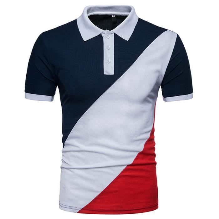 9eefd4864aa21 Polo Homme Contraste Couleur Golf Tennis Sport T-Shirt Manches ...