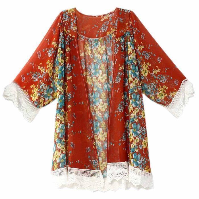 Imprimées En Up Blouse Rouge nbsp; Cardigan Cover De Femmes Châle Mousseline Soie Kimono Tops gARqAwCHdn