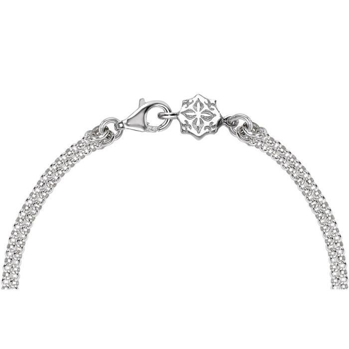 Cherish Bracelet Plat Personnalisable Avec Double Chaîne En Argent 18,5cm IOZ4R