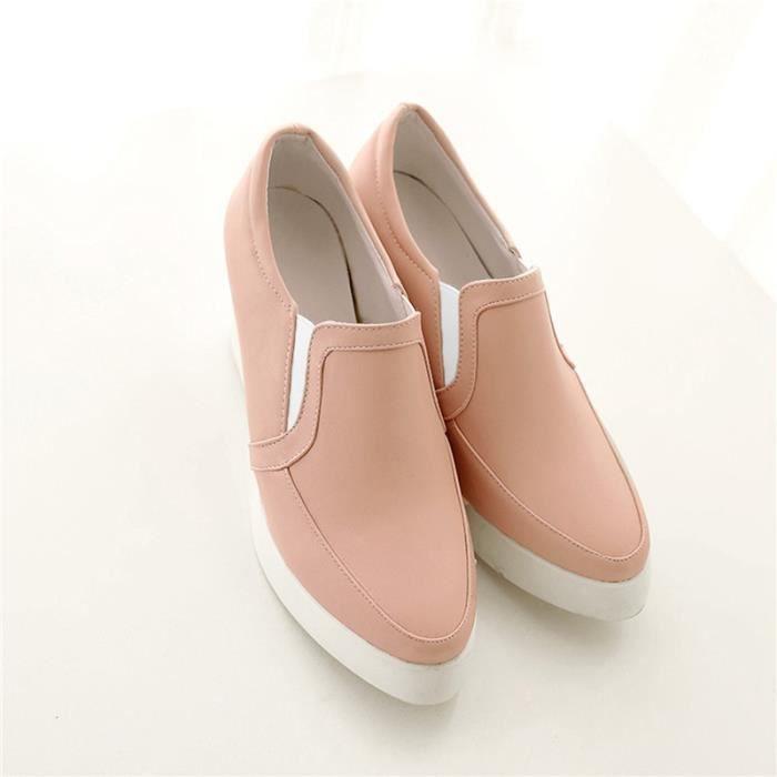 Chaussures Femme Ronde Plateforme En PU Cuir Toutes les pointures de la 35 à la 43