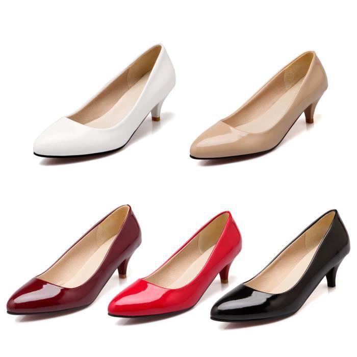 Chaussures Pointue à talons hauts fin PU Cuir Femme Basic Pure Couleur