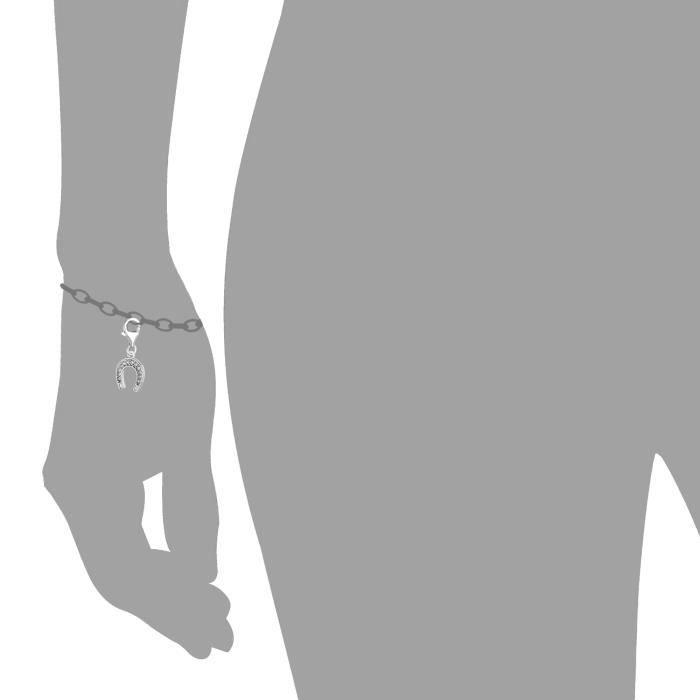 Charme- Argent sterling et Crystal Clip sur Horse Shoe charme