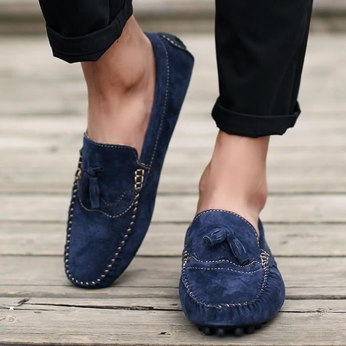 Mode homme respirant Suede Mocassins Slip plat Casual Ons 8JClo