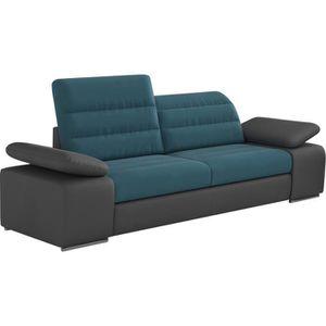 CANAPÉ - SOFA - DIVAN Canapé 2 places design en tissu bleu et pvc gris