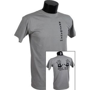 T-SHIRT Tee shirt Battler coton Krav maga modele Hand gris