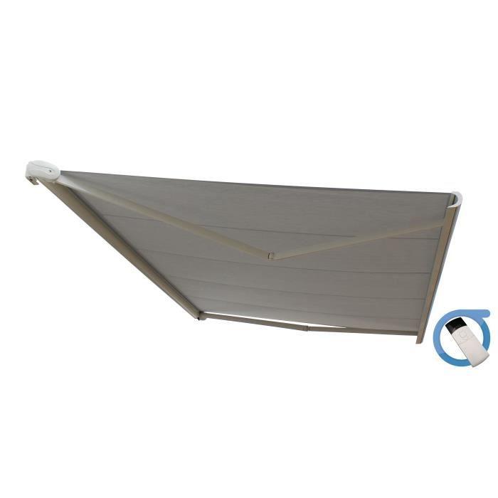 Structure en aluminium blanc satiné, toile gris - 4x3,5m - Mécanisme : motorisé - Surface intérieure : 14 m².STORE - STORE BANNE