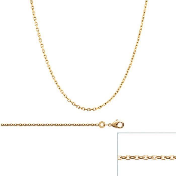 Chaine Plaqué Or maille Forcat largeur 1,5mm (55 cm)