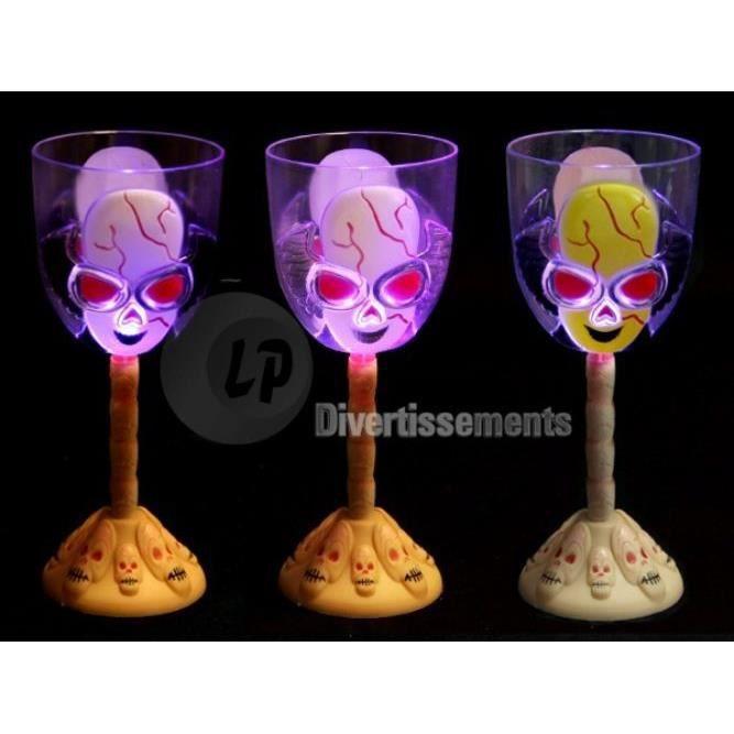 verre à vin sur pied tête de mort lumineux led 19.5cm - achat