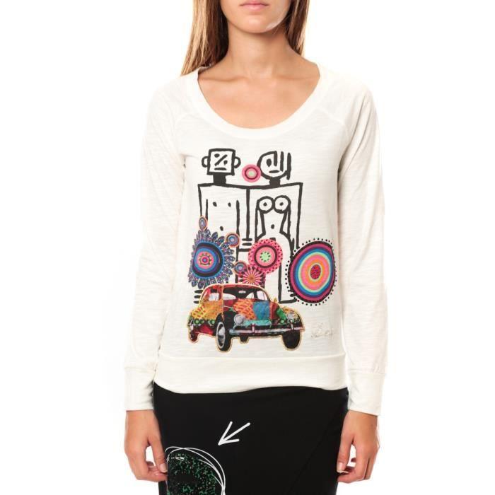 Longue Femme Manche Desigual Vente T Pas Achat Cher Shirt qU6wCxE