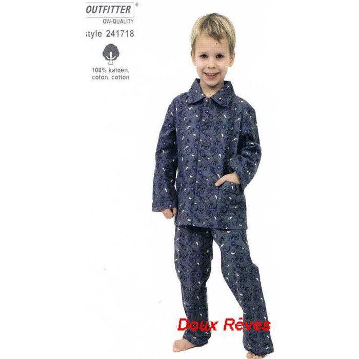 pyjama gar on flanelle 100 coton 2 6 ans r bleu. Black Bedroom Furniture Sets. Home Design Ideas
