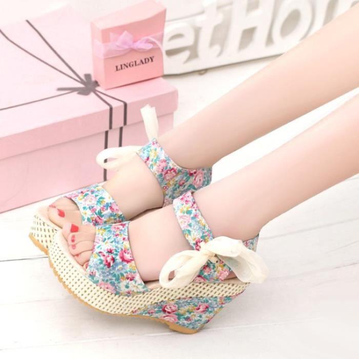 Des sandales Femmes floral dentelle ceinture nœud papillon ouvrir à v5TvsVrn4
