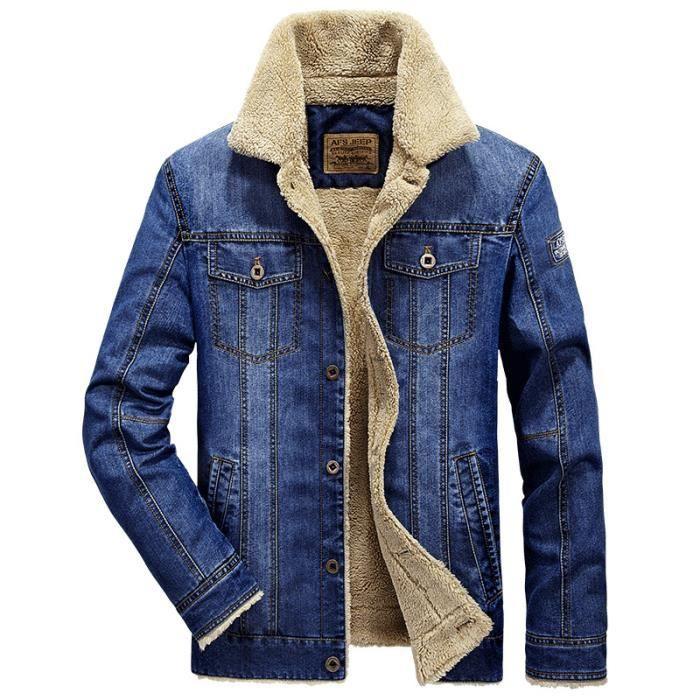 fourrure paissir veste en jean homme hiver marque luxe manteau homme slim blouson en jean pour. Black Bedroom Furniture Sets. Home Design Ideas