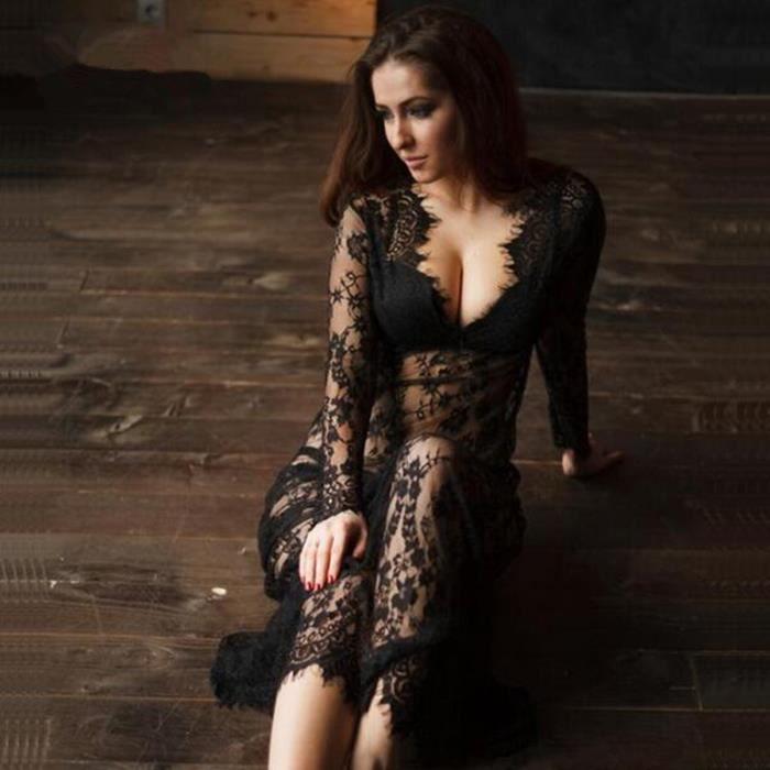 Maxi Plus La Taille Femmes-Parole Longueur Noir Blanc Dété Dentelle Dress Ajuster Taille Sexy Voir À Travers Floral Robe