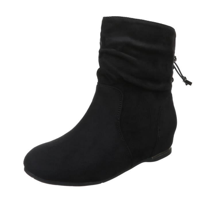 femme bottine chaussure semelle à talon compensé Wedges Boots