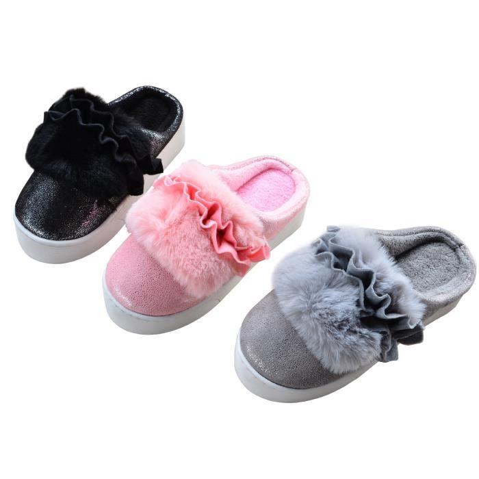 belles dames & # 39; les femmes en lin coton pantoufles de chambre douce familiale d'hiver cachemire chaud pantoufles de fond YEuoI