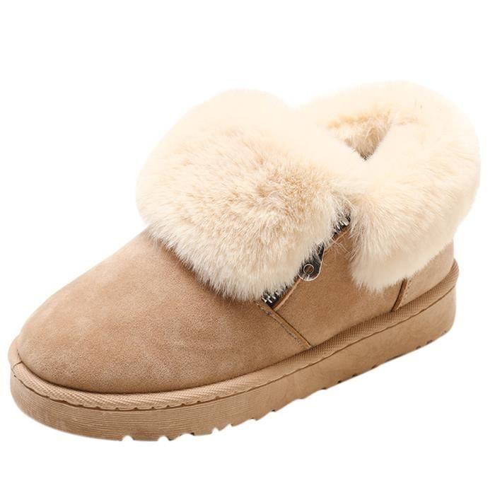 Chaussures Beige Zipper Garder Neige Hiver Métal Bottes D'hiver Chaud Cheville En Peluche qWxPw0ZX7F