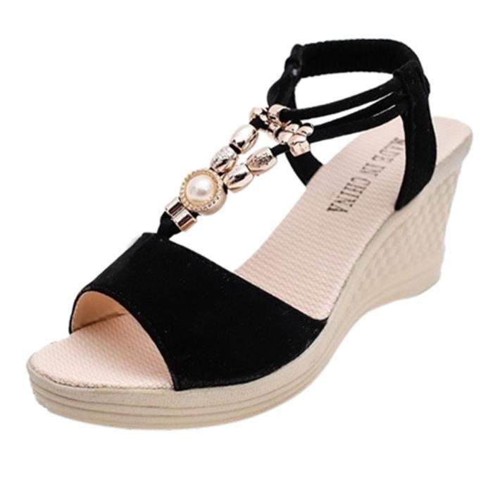 Cordes Sandales Mode Romaines 3ltf1jck Compensées Bead Femmes QrdBWxoeC