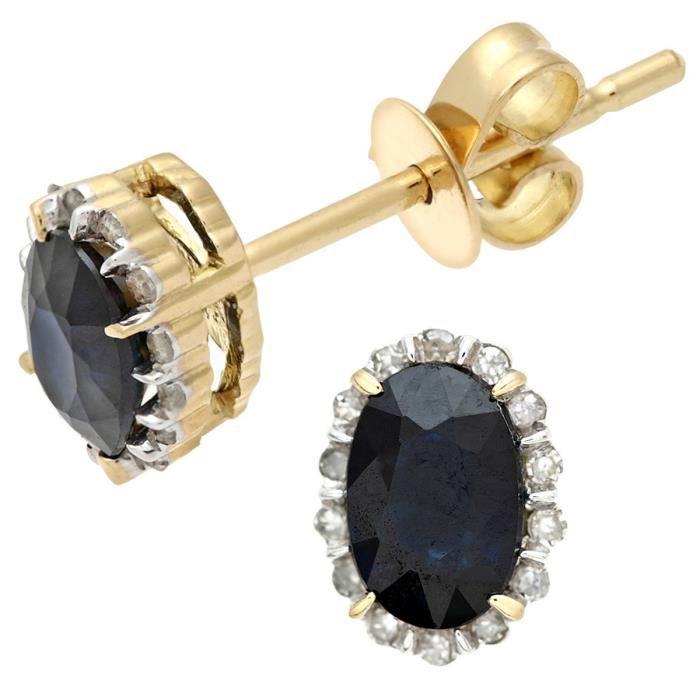 Revoni - Boucles d'oreilles boutons ovales en or jaune 18 carats, saphirs et diamants 0,80 carats