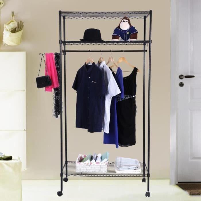 songmics portant penderie v tements armoire de. Black Bedroom Furniture Sets. Home Design Ideas