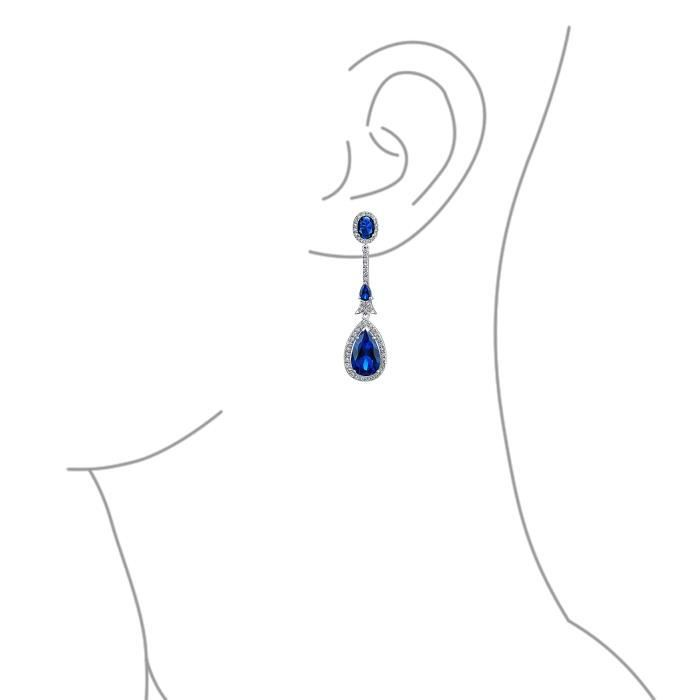 Bling Jewelry Saphir simulées CZ Ouvrir Teardrop Boucles dplaquée Rhodium