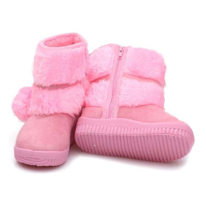 Hiver Bottes Enfants En Peluche Chaussures Filles Garçon Bottines BJ-XZ095Rose21 wwV27