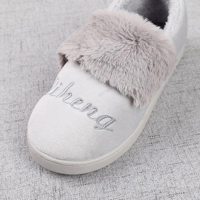 fourrure artificielle pantoufles confortables plate-forme douce d'hiver chaud casual chaussures plates dames chaussures maison de