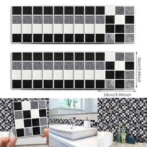 CARRELAGE - PAREMENT 18pcs auto-adhesif noir MuraleMC ETANCHE Marbre de
