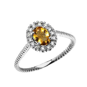 BAGUE - ANNEAU Bague Femme 10 Ct Or Blanc Diamant Et Ovale Citrin