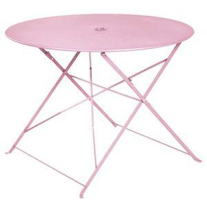 TABLE À MANGER SEULE Table ronde pliante en métal, coloris chamallow -